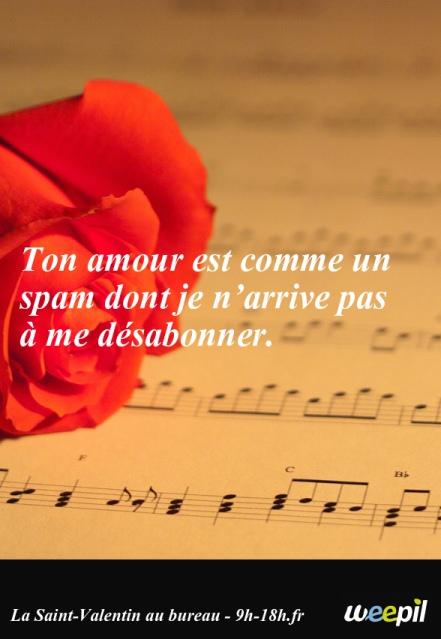 Ton amour est comme un spam dont je n'arrive pas à me désabonner. Citations Saint Valentin en mode vie de bureau par weepil, sur 9h-18h.fr